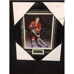 "BOBBY HULL AUTOGRAPHED 12"" X 14"" FRAMED PHOTO W/ BOSSA COA"