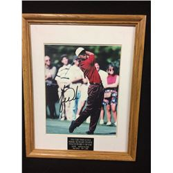 "TIGER WOODS FACSIMILE AUTO  12"" X 14"" FRAMED PHOTO"