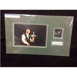 DENNIS TAYLOR AUTOGRAPHED DISPLAY W/ PHOTO (BILLIARDS PLAYER)