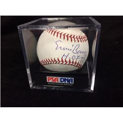 ERNIE BANKS AUTOGRAPHED BASEBALL IN CASE W/ PSA COA