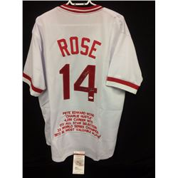 PETE ROSE DUAL SIGNED REDS JERSEY W/ JSA COA (INSCRIBED)