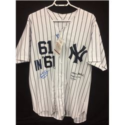 JACK FISHER & TRACY STALLARD DUAL SIGNED YANKEES BASEBALL JERSEY (61 IN 61 ROGER MARIS HR'S)