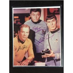 LIMITED EDITION SHATNER, NIMOY, KELLEY AUTOGRAPHED STAR TREK PHOTO W/ COA