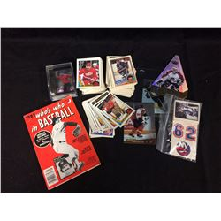 SPORTS CARDS, BOOK, STICKERS LOT