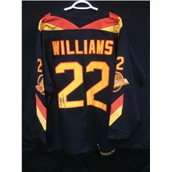"DAVE ""TIGER"" WILLIAMS AUTOGRAPHED ""MITCHELL & NESS"" VANCOUVER CANUCKS HOCKEY JERSEY"