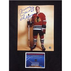 "BOBBY HULL AUTOGRAPHED 8"" X 10"" MATTED PHOTO W/ BOSSA COA"
