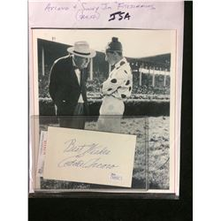 EDDIE ARCARO AUTOGRAPHED INDEX CARD W/ PHOTO (JSA COA)