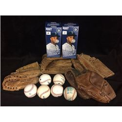 VINTAGE BASEBALL GLOVES, BALLS & BOBBLEHEAD LOT