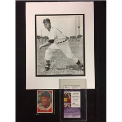 "HAL NEWHOUSER AUTOGRAPHED BASEBALL CARD W/ JSA INCLUDES 8"" X 10"" PHOTO"