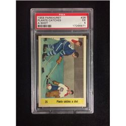 1958 PARKHURST #26 PLANTE CATCHES A SHOT (EX 5) PSA