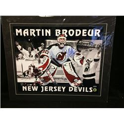 "MARTIN BRODEUR AUTOGRAPHED 17"" X 22"" FRAMED PHOTO W/ STEINER COA"