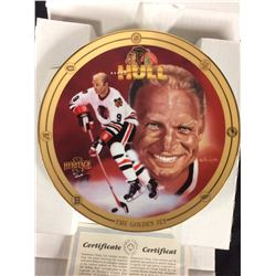 LIMITED EDITION COLLECTOR PLATE BOBBY HULL 24KT GOLD LEAF