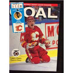 CALGARY FLAMES PROGRAM SIGNED BY THEO FLEURY WITH TICKET