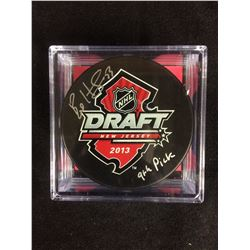 AUTOGRAPHED BO HORVAT 2013 DRAFT PUCK WITH COA