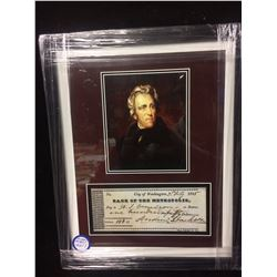 FEAMED ANDREW JACKSON COLLECTIBLE W FACSIMILE CHEQUE 1835