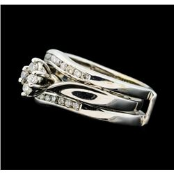 0.50 ctw Diamond Wedding Set - 14KT White Gold