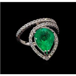 4.01 ctw Emerald and Diamond Ring - 14KT White Gold