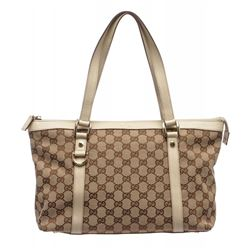 Gucci Beige Brown Canvas Leather Abbey Zip Tote Bag