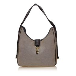 Gucci Gray Canvas Fabric Black Leather Shoulder Bag