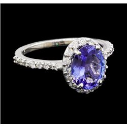 1.78 ctw Tanzanite and Diamond Ring - 14KT White Gold