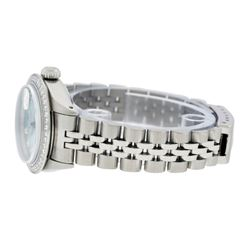 Rolex Ladies Stainless Steel Ice Blue Diamond Datejust Wristwatch