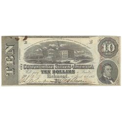 1863 $10 The Confederate States of America Note T-59 CC