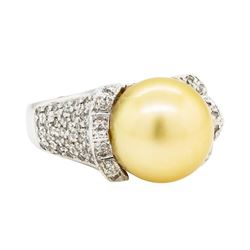 1.40 ctw Diamond and Pearl Ring - 14KT White Gold