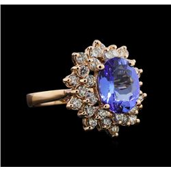 3.24 ctw Tanzanite and Diamond Ring - 14KT Rose Gold