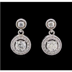 1.44 ctw Diamond Earrings - 14KT White Gold