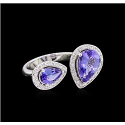 2.55 ctw Tanzanite and Diamond Ring - 14KT White Gold
