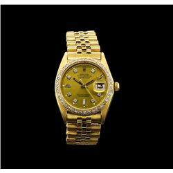 Rolex 18KT Gold 1.18 ctw Diamond DateJust Men's Watch
