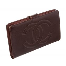 Chanel Burgundy Caviar CC Logo Leather Long Wallet