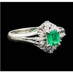 0.32 ctw Emerald and Diamond Ring - Platinum