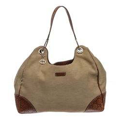 Gucci Brown Beige Canvas Leather Hobo Shoulder Bag