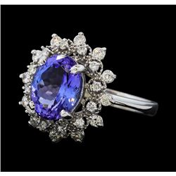 3.21 ctw Tanzanite and Diamond Ring - 14KT White Gold