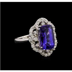 14KT White Gold 4.71 ctw Tanzanite and Diamond Ring