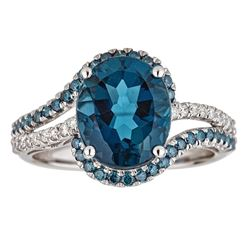 4.70 ctw Topaz and Diamond Ring - 10KT White Gold