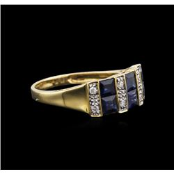 14KT Yellow Gold 1.67 ctw Blue Sapphire and Diamond Ring