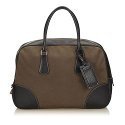 Prada Brown Canvas Fabric Black Leather Double Handle Bag
