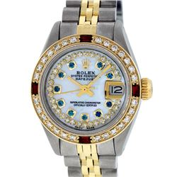 Rolex Ladies 2T MOP Sapphire String Diamond And Ruby Datejust Wristatch