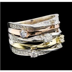 1.00 ctw Diamond Ring - 14KT Tri Color Gold
