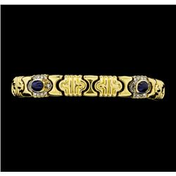 3.65 ctw Sapphire And Diamond Bracelet - 14KT Yellow Gold