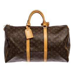 Louis Vuitton Monogram Canvas Leather Keepall 50 cm Duffle Bag Luggage
