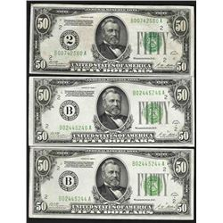 Lot of (3) 1928A $50 Federal Reserve Notes New York
