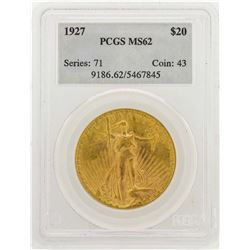 1927 $20 Saint Gaudens Double Eagle Gold Coin PCGS MS62