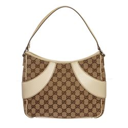 Gucci White Brown Canvas Leather Monogram Shoulder Bag