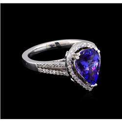 2.30 ctw Tanzanite and Diamond Ring - 14KT White Gold