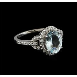 2.00 ctw Aquamarine and Diamond Ring - 14KT White Gold