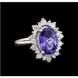 14KT White Gold 3.44 ctw Tanzanite and Diamond Ring