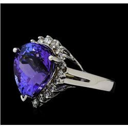 8.92 ctw Tanzanite and Diamond Ring - 14KT White Gold